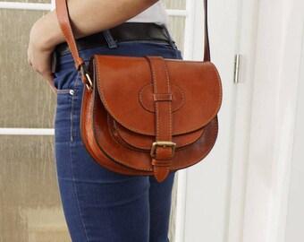 Genuine Leather Saddle Bag, Crossbody bag, Leather Messenger Bag, Leather Purse, Messenger Bag,  Messenger, Goldmann S - vintage tan