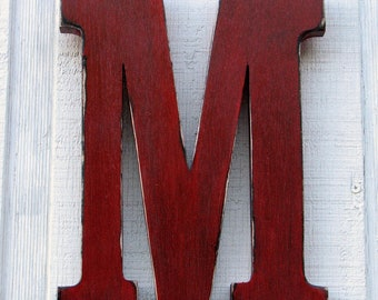 """Rustic Wooden Letter M Distressed True Red,12"""" tall Wood Name Letters Nursery Decor, Kids Room You Pick Color"""