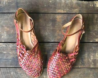 5 M | Muliti-color Woven Leather Huarache Sandals