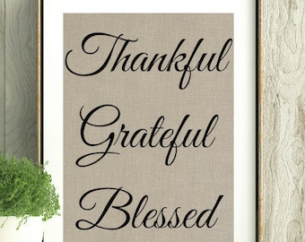 Thankful Decor, Mothers Day Gift, Gift for the Host, Thanksgiving Gift,Thankful Greatful Blessed,Wall Art,Fall Art,Fall Decor,Thanksgiving