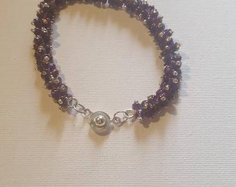 Caterpillar bracelet purple and silver purple bracelet beaded bracelet fun bracelet gift for her