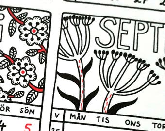 SALE — 2018 A4 printable calendar. Year at a glance, Swedish floral, digital instant download, pdf