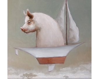When Pigs Fly. Signed Print of an Original Oil Painting