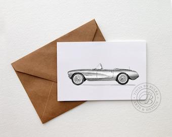 Corvette Art Chevrolet Print Corvette Car Enthusiast Car Art Car Print Chevy Boyfriend Card mans birthday Boyfriend Birthday Card for Dad
