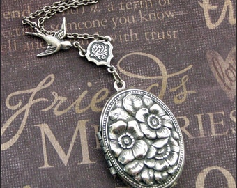 Silver Locket Necklace - Enchanted Rose Garden - Handmade by TheEnchantedLocket