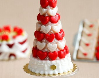 MTO-Red and White Hearts Pièce Montée (Valentine's Celebration Cake) - Miniature Food in 12th Scale for Dollhouse