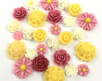 30 resin cabochon flowers ,assorted sizes,#FL133