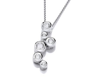 Ladies Sterling Silver and Crystal Bubbles Pendant with 16-18″ Silver Chain