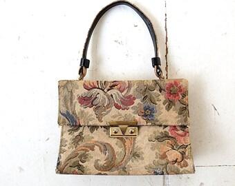 Floral Tapestry Bag | 1950s Purse | Tapestry Handbag