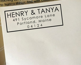 Return Address Stamp, Custom Address Stamp, Return Address Stamp Self Ink, Wooden Stamp, Personalized Wedding Address Stamp, Modern Stamp