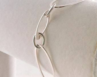 """Sterling Silver Large Oval Link Bracelet 7 1/2"""""""