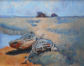 """A4 or A3 Art Print. """"Two Boats, One Lazy Afternoon at Walberswick""""   Wall Art. Home Decor."""