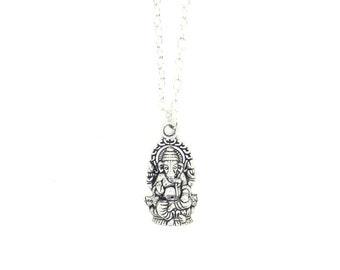 Ganesha Charm Necklace, Ganesha Elephant Pendant, Silver Ganesha Charm, Buddhism Jewellery, Charm Necklace