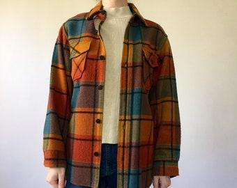 Vintage 60s Rainbow Plaid Shirt Jacket