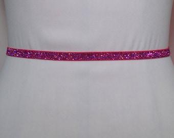 Hot Pink Belt, Bridal Stretch Belt,SWEETHART COLLECTION Belt, Thin Dress Belt,Skinny Elastic belt, Bridesmaid Belt,Glitter Elastic Bel