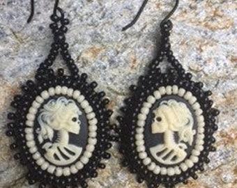 Cameo Skull Earrings