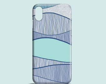 Blue Waves phone case, iPhone X, iPhone 8, iPhone 7, 7 Plus, iPhone SE, iPhone 6S, iPhone 6, iPhone 5S, iPhone 5, illustrated sea phone case