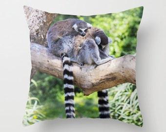 Photo Pillow Pillow cover Throw pillow Cushion covers Pillow case Accent pillow Couch pillow Decorative pillows Animal Photo Lemur 16x16