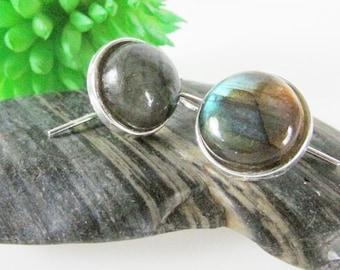 Labradorite Earrings, Labradorite Jewelry, Silver & Flash Labradorite Drops, Simple Jewelry