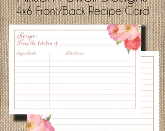 Coordinating Recipe CardCoral Watercolor Flower, Bridal Luncheon, Spring, Summer Invitations
