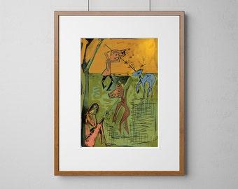 The Hunt Wood Print | Wood Wall Art | Birch Wood |  A3 or 12 x 16 Inch | Free Shipping Worldwide
