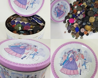 Vintage 1970s Mackintosh quality street tin filled with 1.6kg of assorted retro and vintage buttons