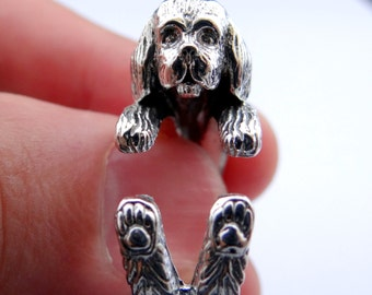 Shih Tzu Ring, Silver Ring, Sterling Silver Shih Tzu Jewelry, Dog Wrap Ring, Animal Ring, Animal Wrap Ring, Animal Jewelry, Silver Jewellery