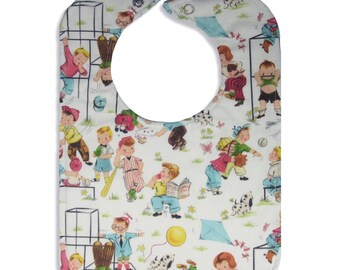 Retro Recess Reversible Bib with snap closure, lined bib, bibs for boys,