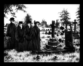 """Print 11x14"""" - The Mourning Ritual 3 - Plague Doctor Cemetery Graveyard Black Death Disease Grave Dark Art Gothic Trees Macabre Mask"""