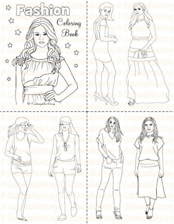 Fashion Coloring Book Printable Fashion Book Girl Women