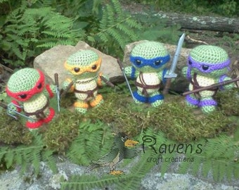 Young Ninja Turtles Amigurumi - MADE to ORDER- NO weapons included.