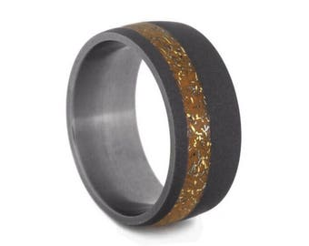 Orange Wedding Band, Stardust Ring With Meteorite And Yellow Gold, Handmade Sandblasted Titanium Ring For Men or Women