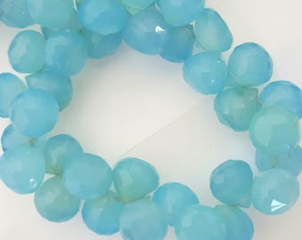 CHALCEDONY Faceted Briolette strand 10-12mm