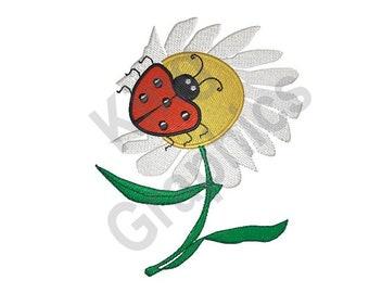 Ladybug On Flower - Machine Embroidery Design, Daisy