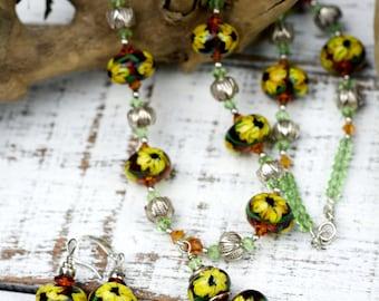 Sunflower Lampwork Necklace