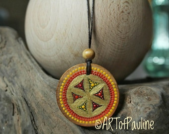 Walnut wood disc As chain pendant hand painted
