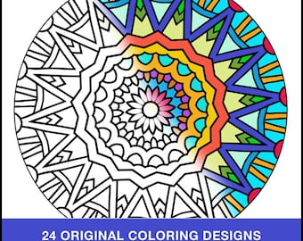 Adult Coloring Book - PDF INSTANT DOWNLOAD - Coloring Book - 24 Original Coloring Pages
