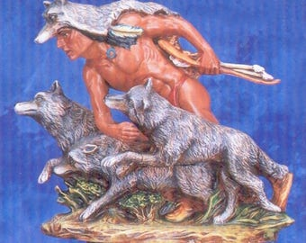 Ceramic Bisque U-Paint Native American Indian Wolf Runner Unpainted Ready To Paint DIY PYOP Provincial