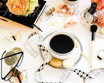 Black, Cream & Peach Desk Styled Stock Photo / Styled Stock Photography / Flatlay / Lifestyle Image / Mockup / Frankly Photos File #45
