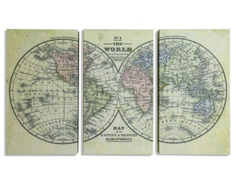 Crams panoramic map of the world world map hemispheres map map world world hemispheres world map hemispheres world map triptych world hemispheres map triptych map gumiabroncs Choice Image