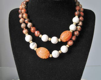 Carved Carnelian Necklace / Vtg / Carnelian, Gold and Agate beads