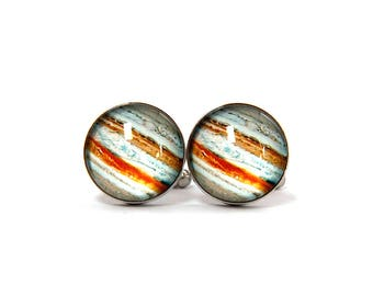 Jupiter cufflinks, Planet cufflinks, Jupiter jewelry, Jupiter charm, Planet jupiter, Galaxy cufflinks, Space cufflinks, Solar system cufflin