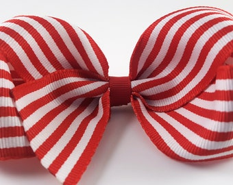 "4"" White and Red Hair Bow."