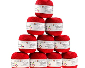 10 x 50g thread classy cotton, #9 red