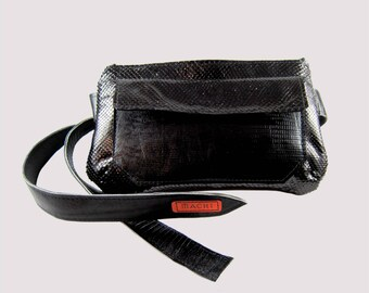 Travel Hip bag.Genuine leather and snakeskin Fanny pack. Made with Love in Brooklyn.