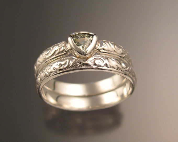 Green Sapphire Triangle Wedding set 14k White Gold Victorian bezel set ring made to order in your size