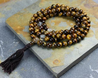 Tiger Eye Mala with Crystal Spacers