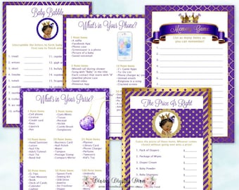 Baby Shower Games Package | African American Princess Purple & Gold | Price Is Right Baby Babble Purse Phone Memory | Instant Download