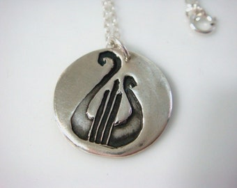 PMC Lyre Necklace - Alpha Chi Omega Necklace in Fine Silver