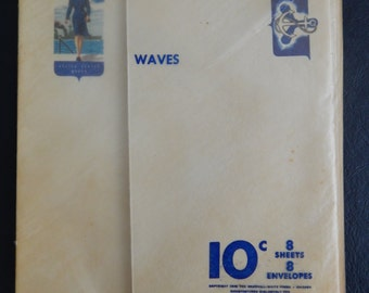 WW II Unused WAVES Patriotic Stationery with Matching Envelopes - Set of 8